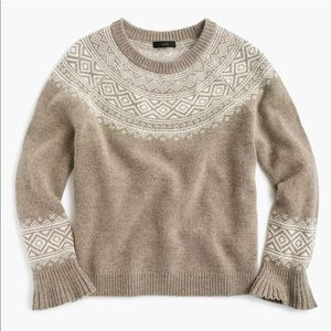 J.Crew Ruffle Sleeve. Fair Isle Sweater